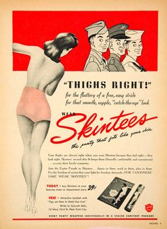 vintage panty ads | 1943 Ad Skintees Panty 10 West 33rd Street WWII Underwear Underpants ...