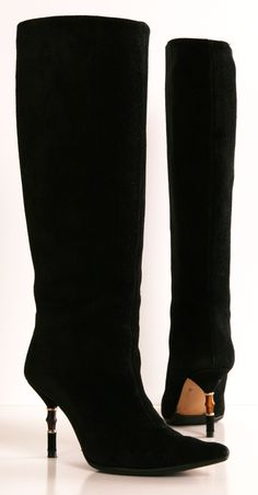 Gucci Black Suede Boots with Bamboo Heel