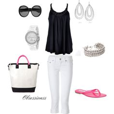 summer looks, color, white pants, black white, summer outfits