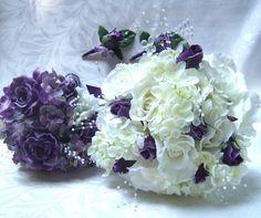 Bridal bouquet bridesmaid bouquet purple roses lilac hydrangea wedding bouquet and boutonniere set. $115.00, via Etsy.