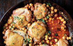 Pan-Roasted Chicken with Harissa Chickpeas - Bon Appétit a 45 minute meal!