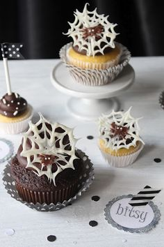 Halloween chocolate cob web and spider cupcake toppers