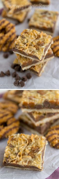 Samoa Magic Bars   crazyforcrust.com   A magic seven layer bar filled with the flavors of Samoa Girl Scout Cookies!