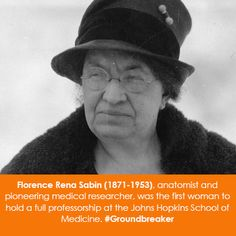 Women in Science Wednesday! Florence Rena Sabin (1871-1953), anatomist and pioneering medical researcher, was the first woman to hold a full professorship at the Johns Hopkins School of Medicine. #Groundbreaker
