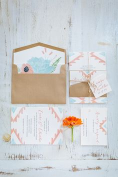 Southwestern inspired wedding invitations, photo by Clay Austin Photography http://ruffledblog.com/notwedding-charleston #weddinginvitations #stationery