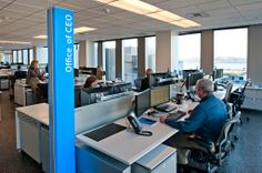 At Russell Investments, the chief executive occupies an ordinary desk in a row. In NBBJ's office, there aren't any private offices, either.