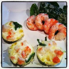 47 calories, 0g fat, 96mg sodium, 4g carbs, 1g fiber, 7g Protein each muffin. Muffin recipe: Use 6 pan muffin pan, fill each one with 3 tbsps egg white, 2 spinach leaves, half a jumbo boiled shrimp, sprinkle diced yellow pepper and onions. Bake at 350 degrees for exactly 25 minutes. Side of spinach salad with boiled shrimp and poppyseed dressing. Total meal: 227 calories, 4g fat, 26 g protein! Follow Catherine's Daily Apple on Facebook for more recipes!