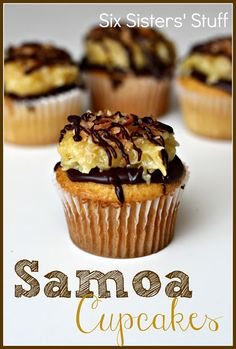 Samoa Cupcakes- these will tide you over until your Girl Scout cookies arrive! SixSistersStuff.com #cupcakes #dessert Use gluten-free cake mix to make these gluten free.