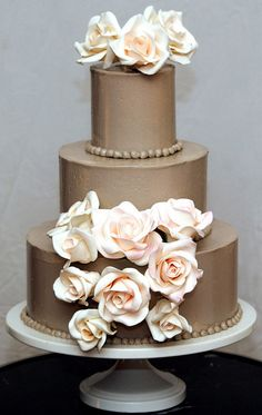 taupe cake with roses cake by kickass kakes, via Flickr