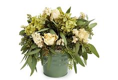 "13"" Roses & Hydrangea in Bucket, White For a lovely, lifelike centerpiece that will never need tending, top your table or buffet with this freeze-dried arrangement of white roses, seeded eucalyptus, green hydrangea and white larkspur in a charming tin.  From The Garden specializes in beautiful, modern designs of dried and preserved floral wreaths and arrangements.  Keep indoors out of direct sunlight and heating elements.  Size:  9"" x 13""."