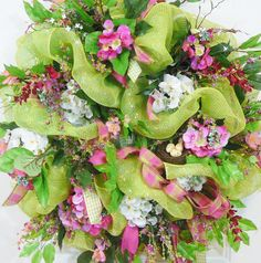 Extra Large Deco Mesh Spring and Summer Door Wreath by LadybugWreaths, $329.97