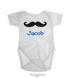 Mustache with Name  No baby boy closet is complete without some mustache baby clothes! This baby boy gift is personalized with a name to make a one of