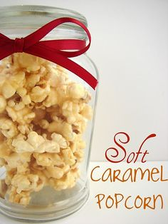 popcorn with butter, brown sugar, corn syrup and eagle brand