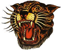 Sailor Jerry, Vintage Tattoo, Designs, Tiger Tattoo, T Shirt tattoo idea, vintage tattoos, sailor jerri, tiger, tattoo flash, lion tattoo, sailorjerri, tattoo design, jerri tattoo