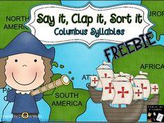 Say it, Clap it, Sort it - Columbus Syllable Sort - FREEBIE