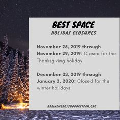 The holidays are right around the corner! Here is the holiday closure schedule for our BEST Space, the Superhero Shoppe and our offices.  #TBITalk