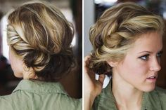 Simply twist and tuck your locks around a thin elastic headband to DIY this updo.