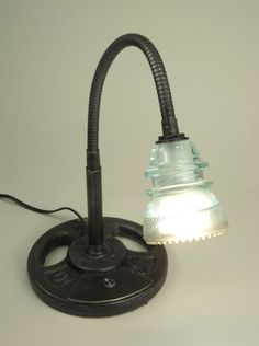 fun desk lamp from old glass insulator