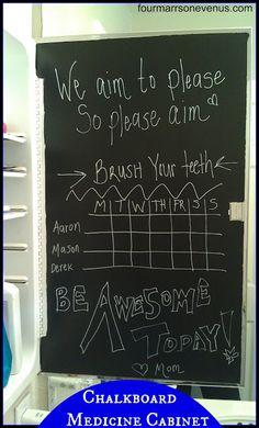 DIY Chalkboard Medicine Cabinet  by: fourmarrsonevenus.com