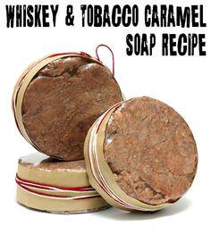 DIY Men's Homemade Tobacco Caramel and Whiskey Soap Recipe made using real whiskey!