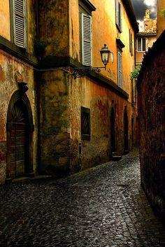 Cobblestone Street, Orvieto, Italy