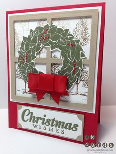 christma card, card idea, fab friday, window pane, wonder wreath, friday 27, card stampin, stampin up wonderous wreath, paper crafts