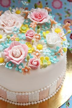 fashion cakes, pastel, little girl parties, pretti cake, flower cakes, cake party, blue flower, fondant flowers, kid cakes