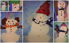 Kindergarten Kids: Painted Snowmen!  Start by watercolor painting the background and let it dry.  Then they add the white snowmen bodies and let it dry.  Then they add the details of the snowman with tempera paint.  Beautiful!
