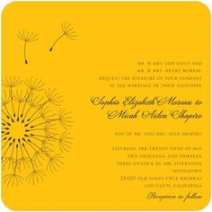 Signature White Wedding Invitations Soft Dandelions - Front : Citrus