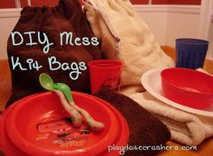 """Make your own """"mess kit"""" bag for camping instead of using disposable plates and cups."""