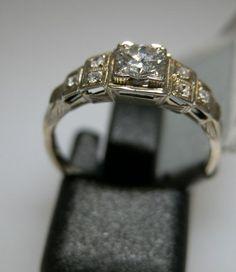 Vintage Wedding Rings 1920 | antique diamond engagement wedding ring white yellow gold platinum 18k ...