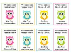 Owl homework passes to distribute how you see fit. :) I just love these owl. *I saw this idea from Amanda McDonald and tweaked it to fit my specific theme.