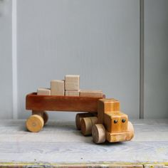 vintage wooden truck with blocks.