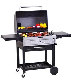 This KitchenAid charcoal grill features heavy-duty cast iron cooking grates that are matte finish porcelain coated, so pre-seasoning the grates is not required. Adjustable charcoal tray, ventilation, damper plus front access door to charcoal make it easy to control cooking temperatures.