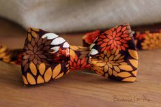 Boys Bow Tie -Fall Floral on Woven Cotton, handsome bowtie for infant, toddler, child