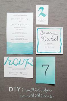 DIY Watercolor Wedding Invitations via Something Turquoise watercolor wedding, idea peopl, diy watercolor, día de, wedding invitations, de boda