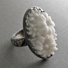 White Garden Ring - Sterling Silver and Vintage Glass. $75.00, via Etsy.