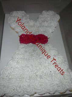 Wedding dress pull apart cake