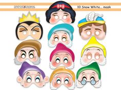 Unique Snow White And The 7 Dwarfs Printable Masks,party masks,birthday,decoration,sleeping beauty,costume,Evil Queen,photo props,Disney