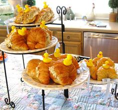 arent these the cutest?  Chicken salad croissants for the baby shower with rubber duck toothpicks
