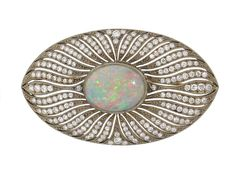 Antique Edwardian Opal and Diamond Brooch in 18K, 1905  #504952
