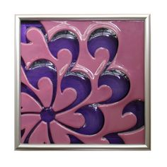 My Chrysanthemum Tile! Carved and Kiln-Blown glass, by Michelle Prosek