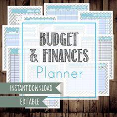 Budget Planner-Finance Organizer, Budget Printable, Budget Binder, Finance Binder-12 Sheets-Chevron-INSTANT DOWNLOAD & Editable via Etsy