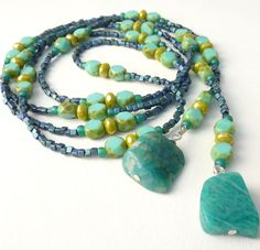 Turquoise Lariat Necklace, Gemstone Nuggets, Lime Green Beaded - love the color combination and style