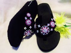 Adorable Western Cowgirl Bling Concho Flip Flops. Great gift idea too! Sizes 5/6,  9/10    $35.00  www.pamperedcowgirl.com cowgirls, gift ideas, gifts, flip flops, pink flair, flair flip, cowgirl bling