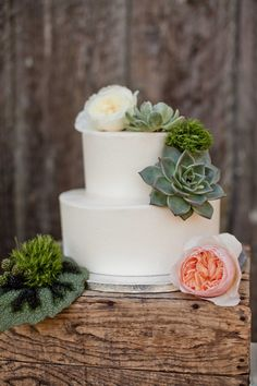 simple white cake with flowers