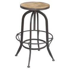 Industrial Round Reclaimed Wood and Iron Stool (India)