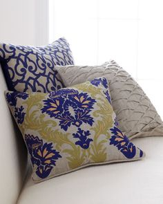 Decorative Pillows in Blue, Green, & Natural at Horchow.