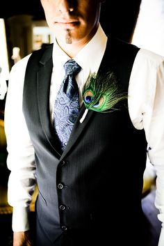 Peacock Wedding Theme ~ Boutonniere