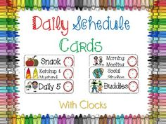 Classroom Daily Schedule Cards With Clocks. FREE